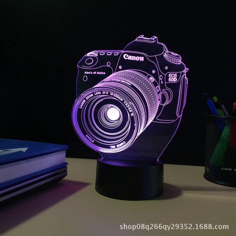 创意相机3d礼品台灯变色触摸LED小夜灯供货电商地摊个性图案定制