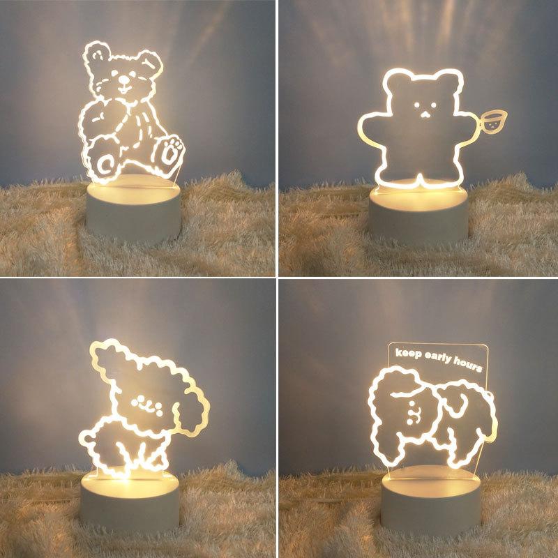 3d小夜灯卡通投影立体创意温馨少女心梦幻卧室床头灯活动礼品定制