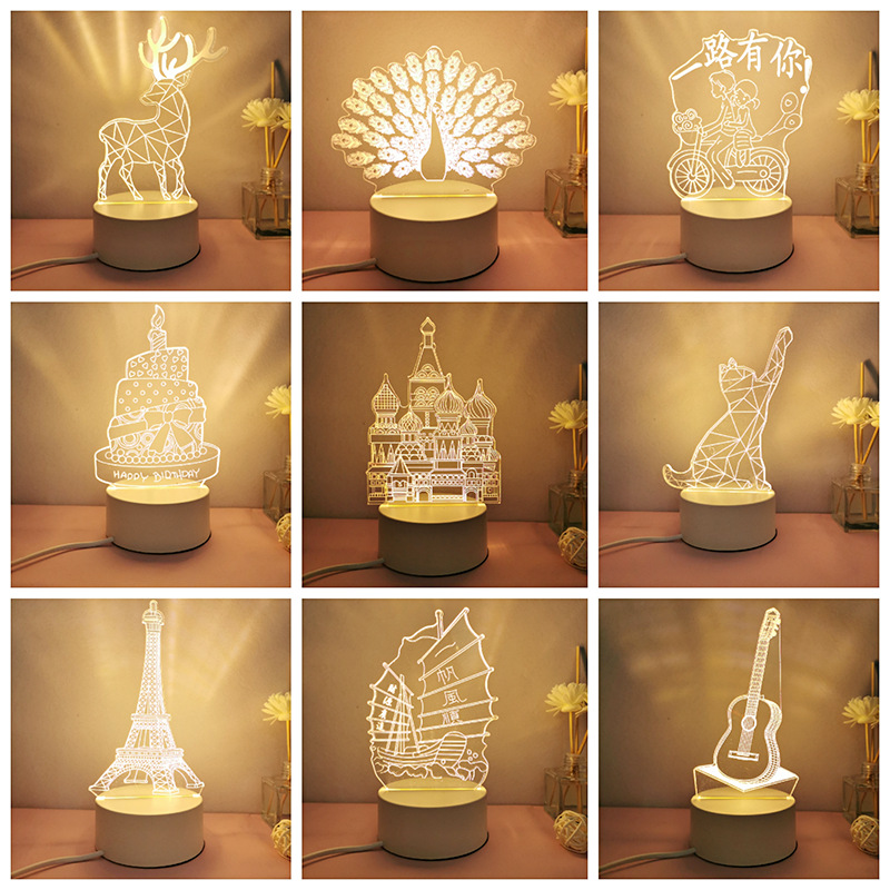 3d小夜灯创意usb卡通亚克力led小台灯节日活动公司logo定制小礼品