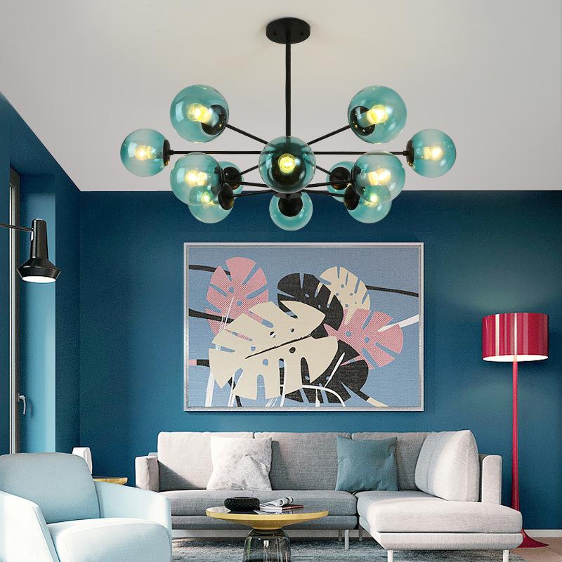 北欧创意客厅吊灯简约现代个性艺术卧室餐厅铁艺分子魔豆服装店灯