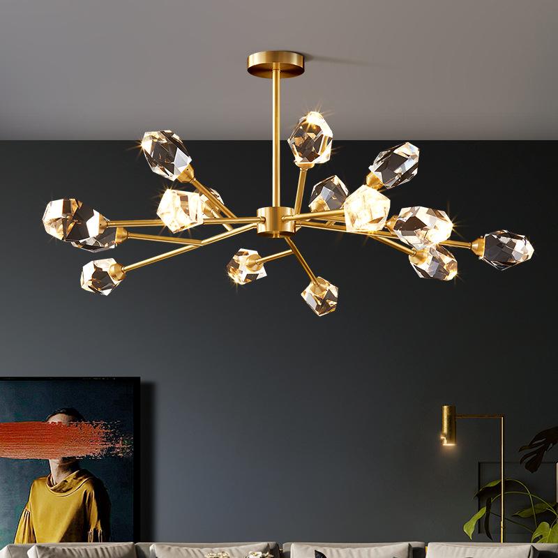 2020年新款轻奢全铜水晶吊灯设计师客厅餐厅灯后现代简约北欧分子