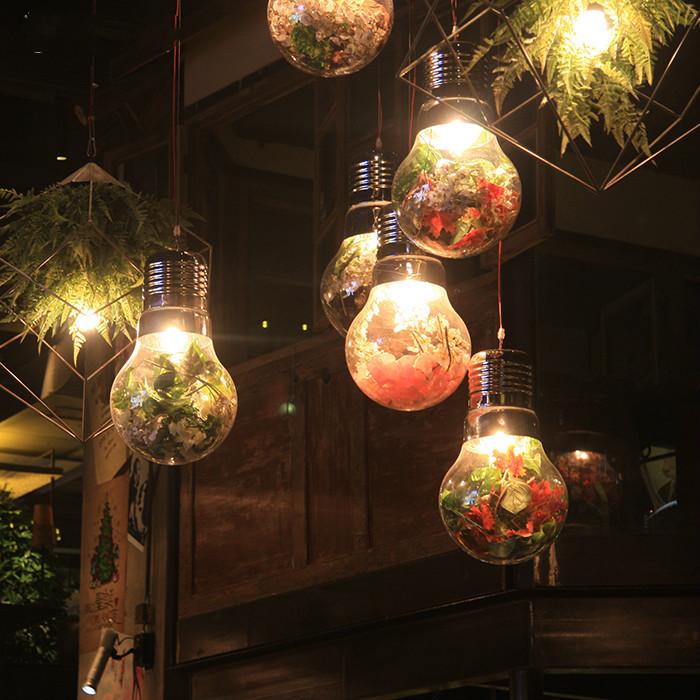 田园风格植物吊灯胡桃里带花灯泡酒吧网咖装饰吊灯配假植物花灯饰