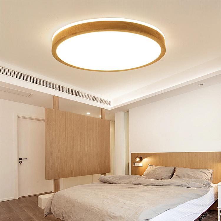 超薄吸顶灯led圆形简约现代日式灯具原木实木北欧卧室灯客厅灯饰