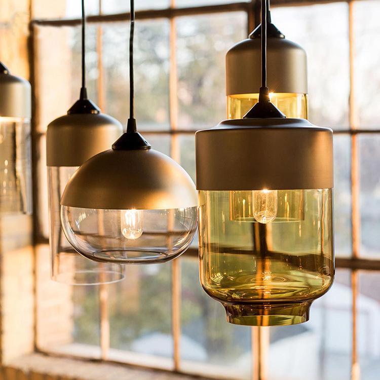 北欧工业风三头餐厅法式咖啡厅吧台灯具复古创意简约现代玻璃吊灯