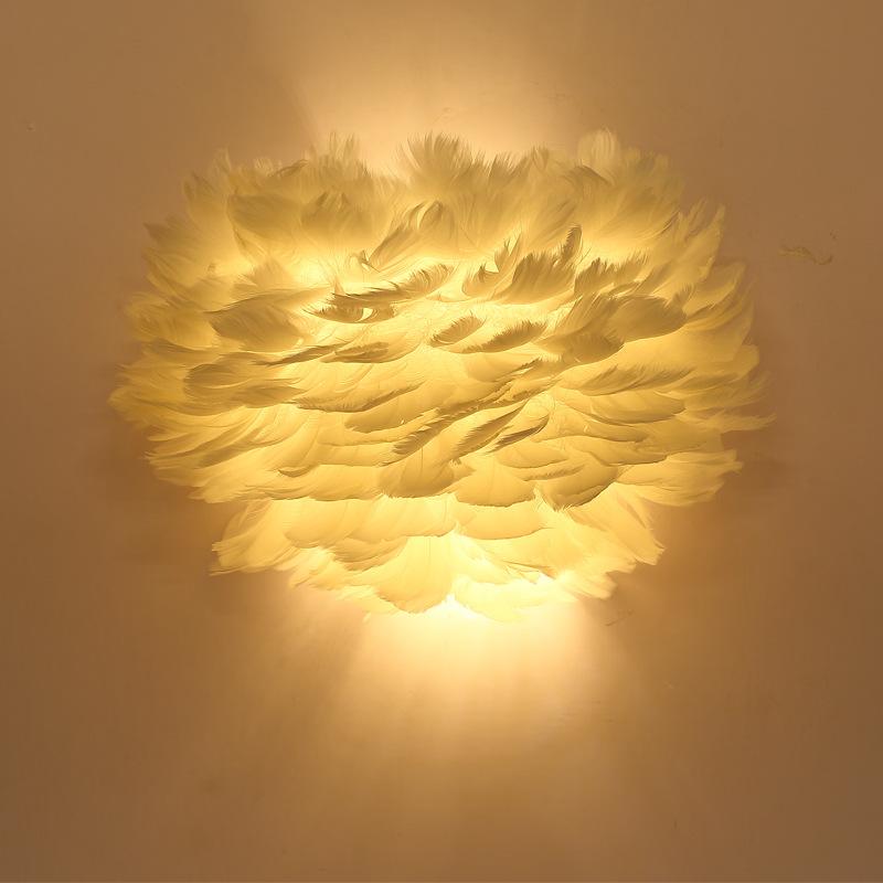 北欧壁灯LED简约现代客厅背景墙创意羽毛灯儿童房婚房卧室床头灯
