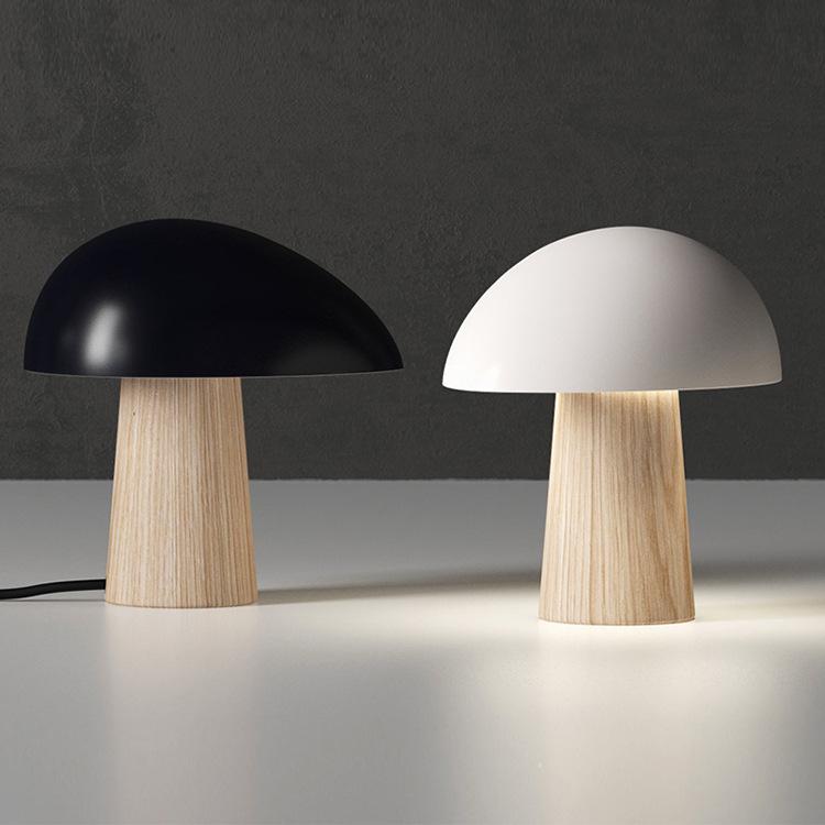 简约现代北欧时尚民宿灯客厅卧室床头软装设计师创意木纹蘑菇台灯