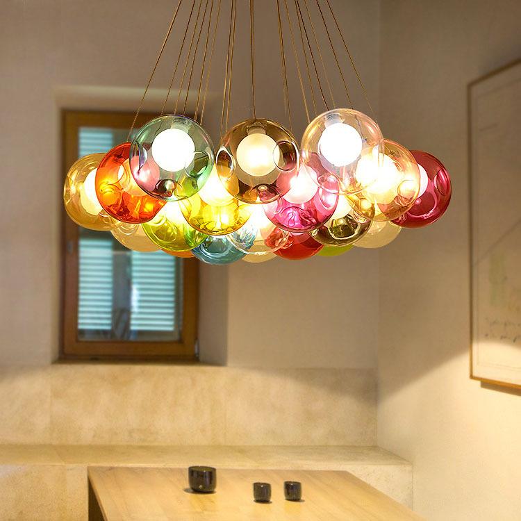 北欧吊灯 创意卧室灯个性彩色玻璃泡泡灯服装店ins网红灯儿童房灯