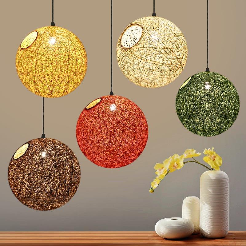 设计师手工藤艺麻线球形吊灯北欧现代简约创意艺术卧室饭厅餐厅灯