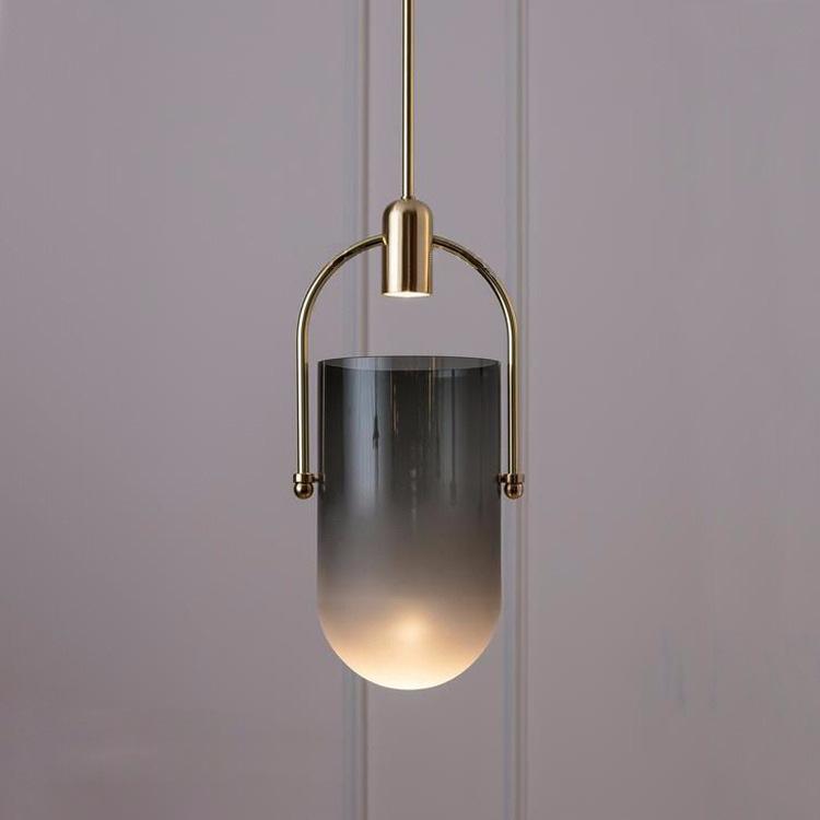 北欧简约民宿小吊灯铜色水桶玻璃罩餐厅吧台咖啡厅网咖个性创意灯