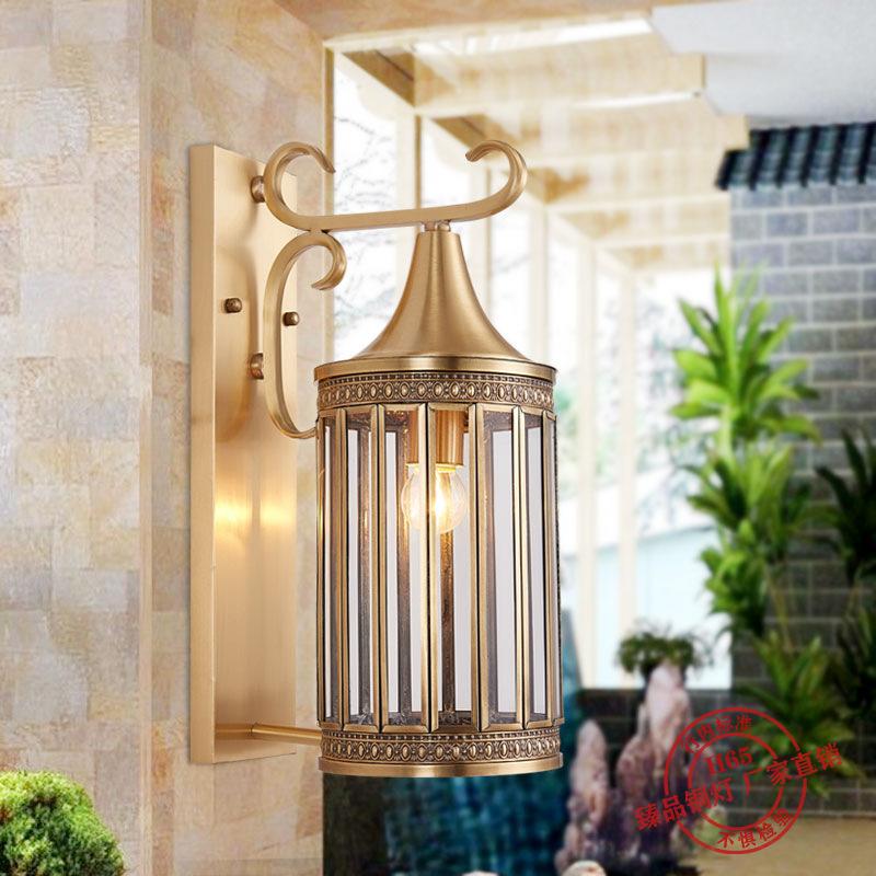 美式全铜壁灯欧式走廊过道楼梯灯户外阳台别墅室外防水庭院灯创意