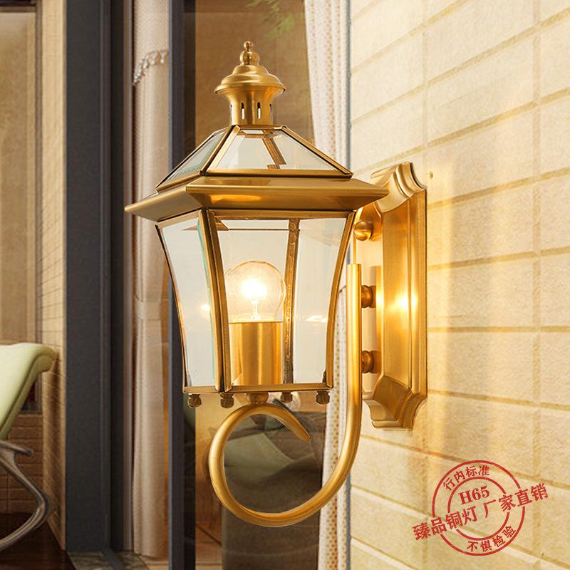 欧式全铜户外壁灯美式全铜灯过道走廊庭院灯阳台防水壁灯室外壁灯