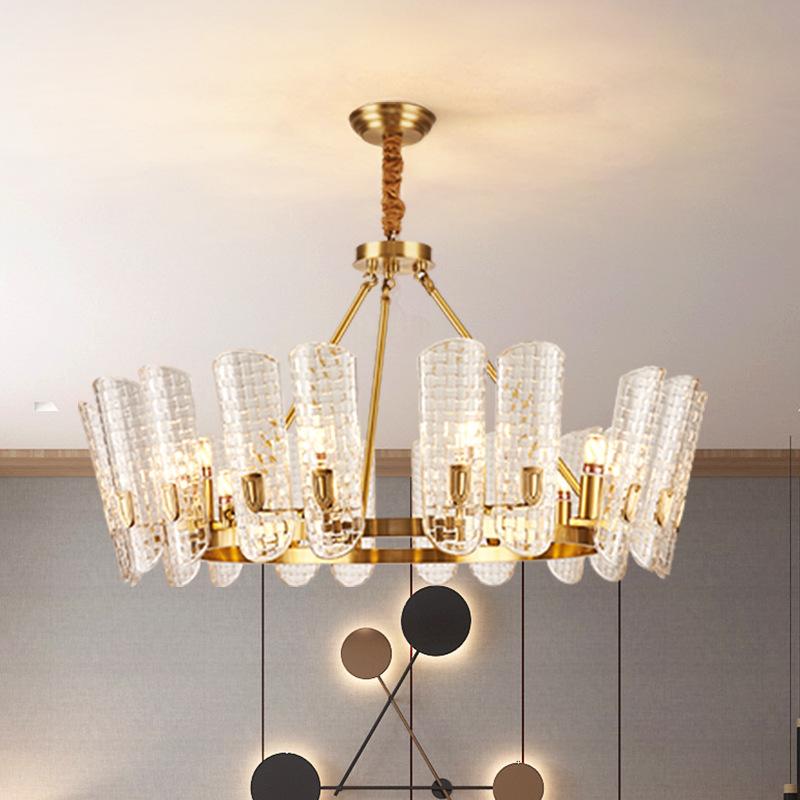 轻奢后现代简约全铜灯高档水晶吊灯客厅大厅餐厅卧室大气灯具灯饰
