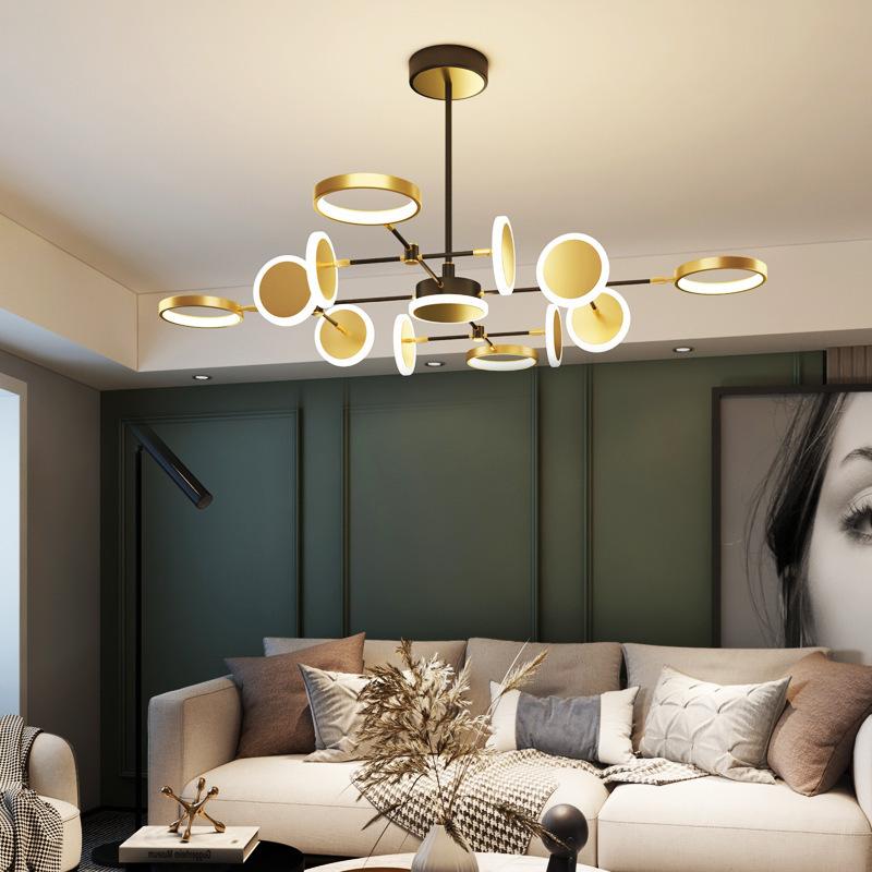 全铜灯轻奢金色吸顶灯客厅灯后现代简约创意卧室北欧吊灯网红灯饰