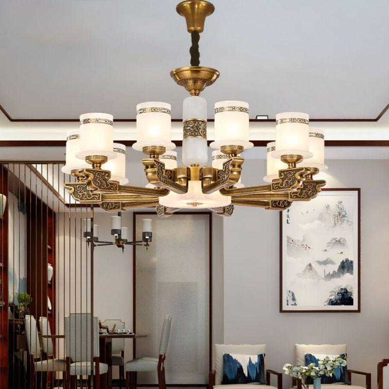 新中式客厅灯复式楼别墅豪华大厅灯三层全铜西班牙天然云石大吊灯