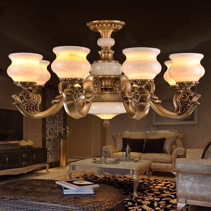 豪华欧式天然云石玉石全铜灯中式吊灯大厅灯别墅灯客厅吊灯