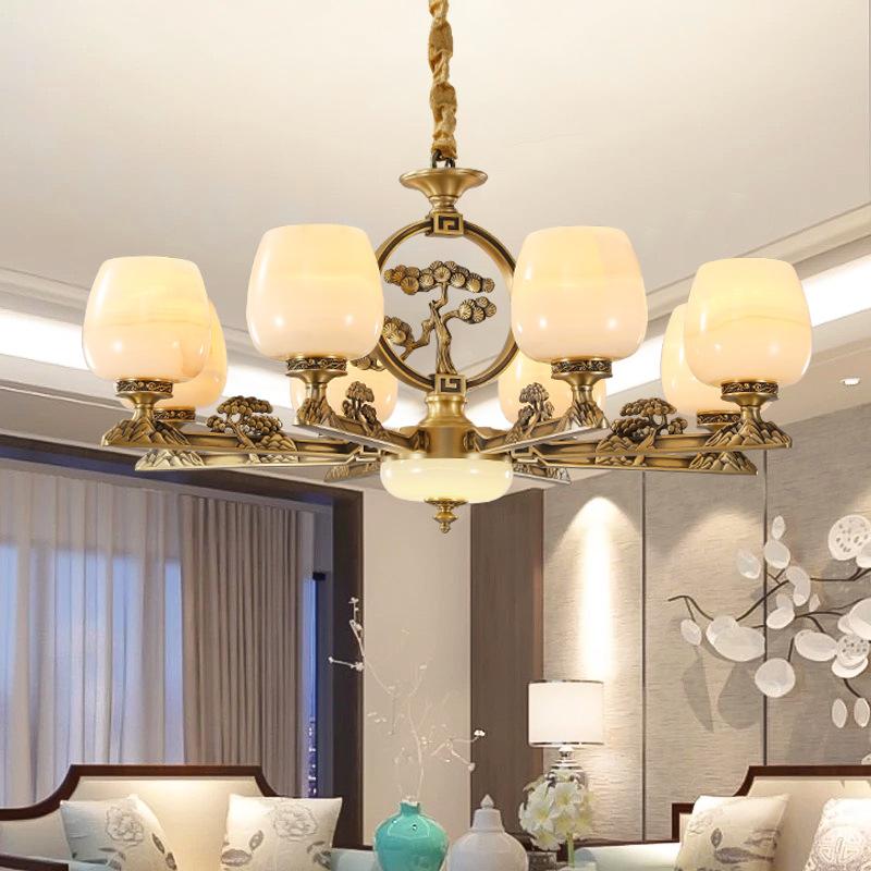 天然云石吊灯新中式全铜客厅吊灯现代简约玉石大气灯具餐厅书房灯