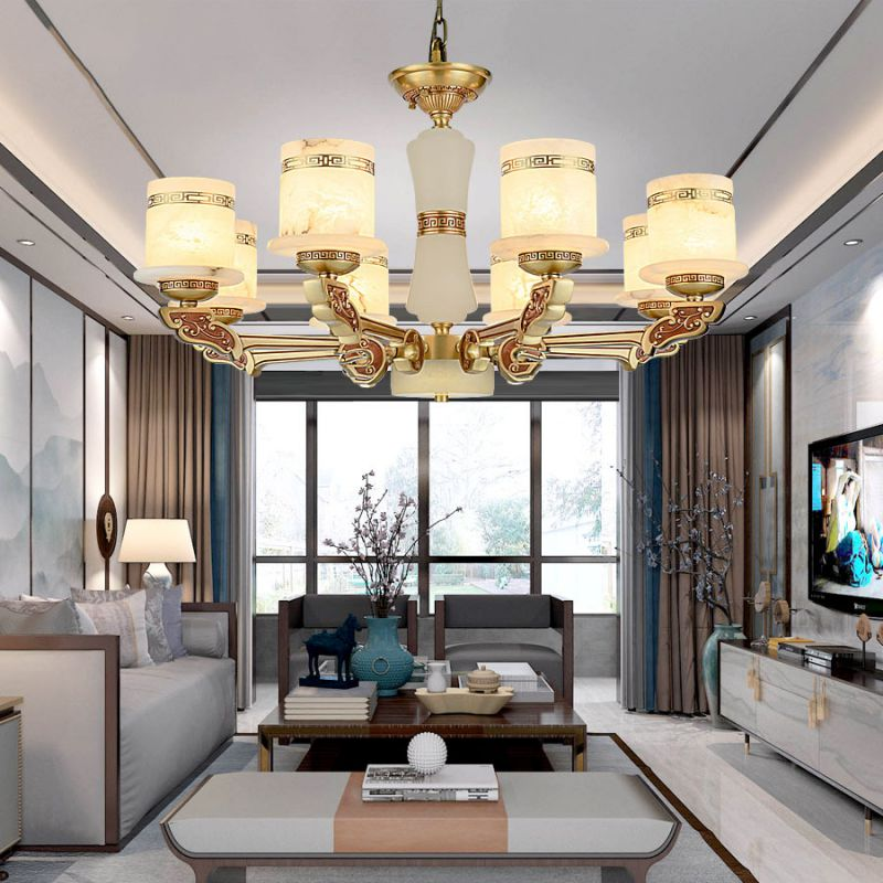 新中式吊灯全铜玉石吊灯卧室客厅灯中国风别墅灯全铜西班牙云石灯