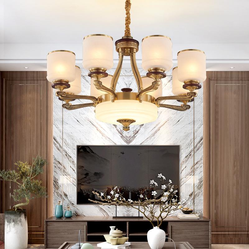 新中式现代简约创意大厅客厅灯卧室书房餐厅古典全铜家用个性吊灯