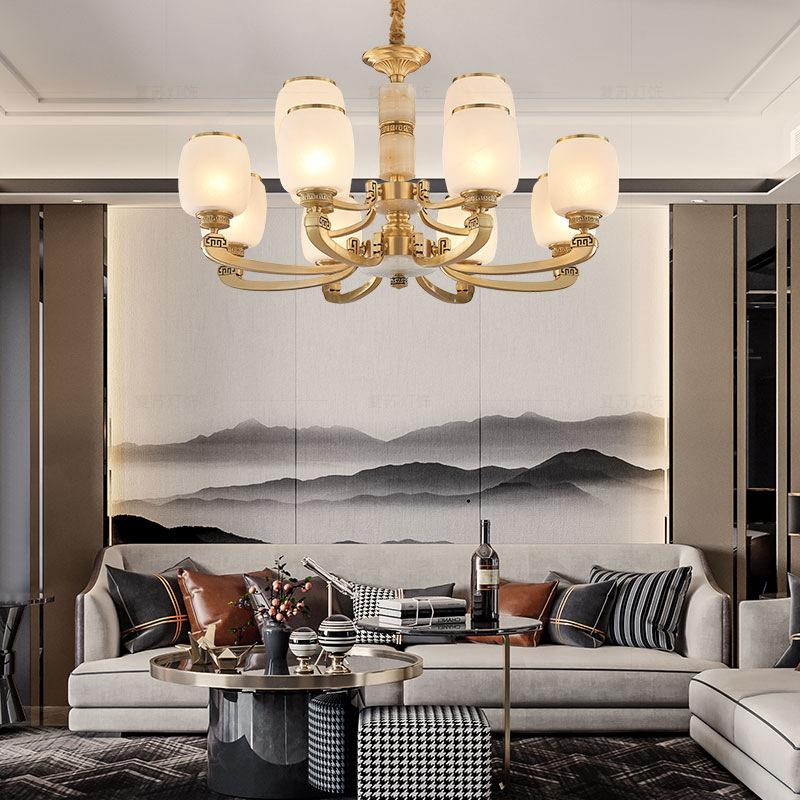 新款新中式客厅全铜吊灯天然玉石现代简约餐厅灯大气古典别墅灯具