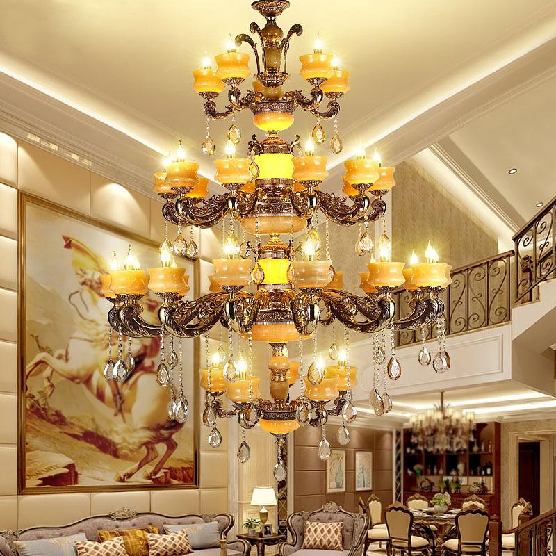 复式楼大吊灯别墅楼中楼天然玉石水晶客厅灯奢华锌合金酒店大厅灯