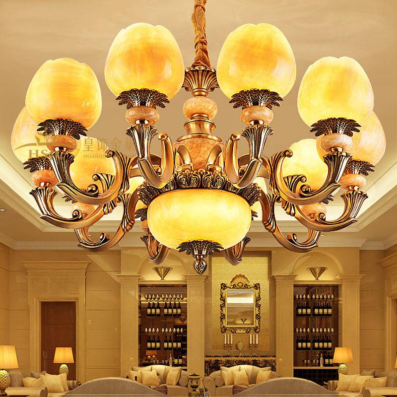 全铜吊灯别墅纯铜欧式大气客厅奢华天然玉石灯具卧室餐厅大厅吊灯