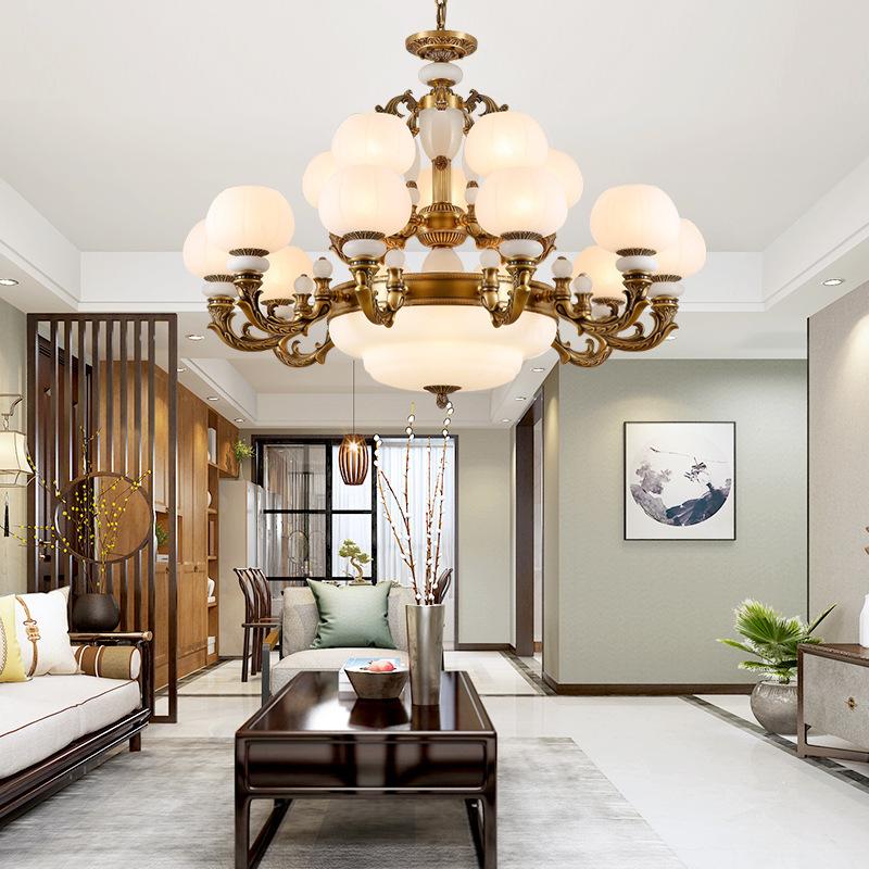 欧式客厅西班牙云石吊灯别墅餐厅卧室白玉石吊灯新中式全铜吊灯