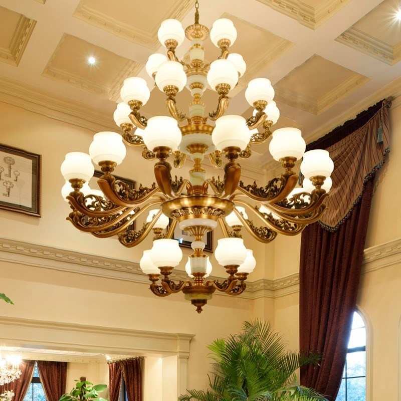 欧式吊别墅复式楼客厅酒店大堂锌合金玉石大吊灯18头30头35头