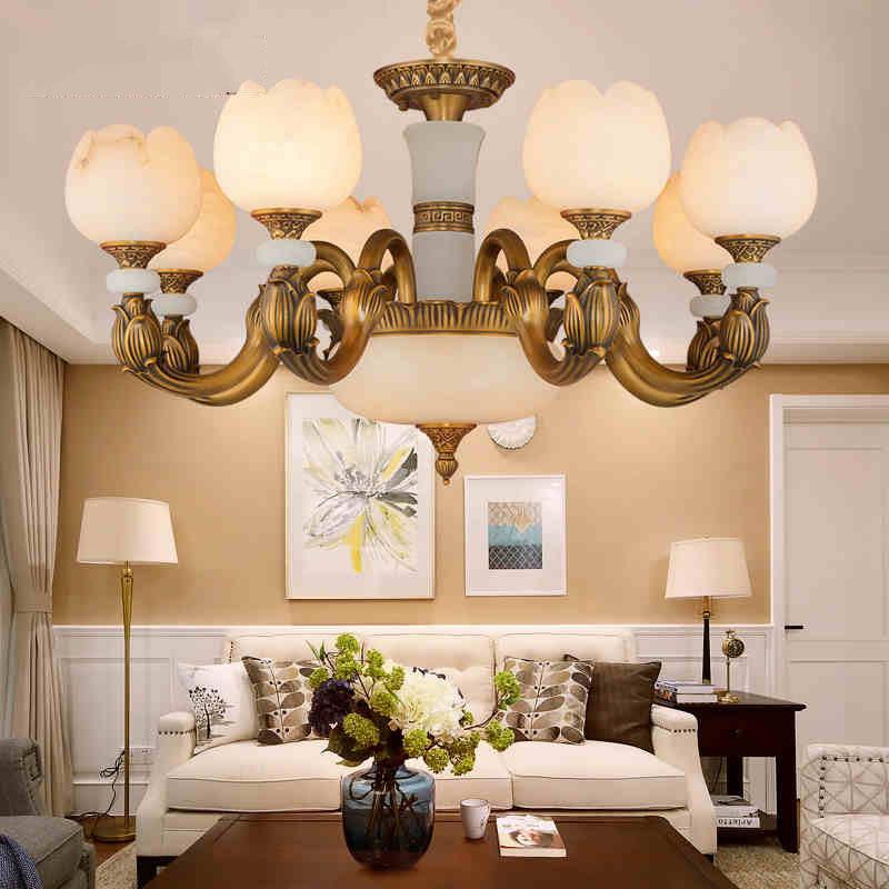 西班牙云石灯中式铜吊灯全铜客厅灯简欧别墅客厅玉石全铜吊纯铜灯