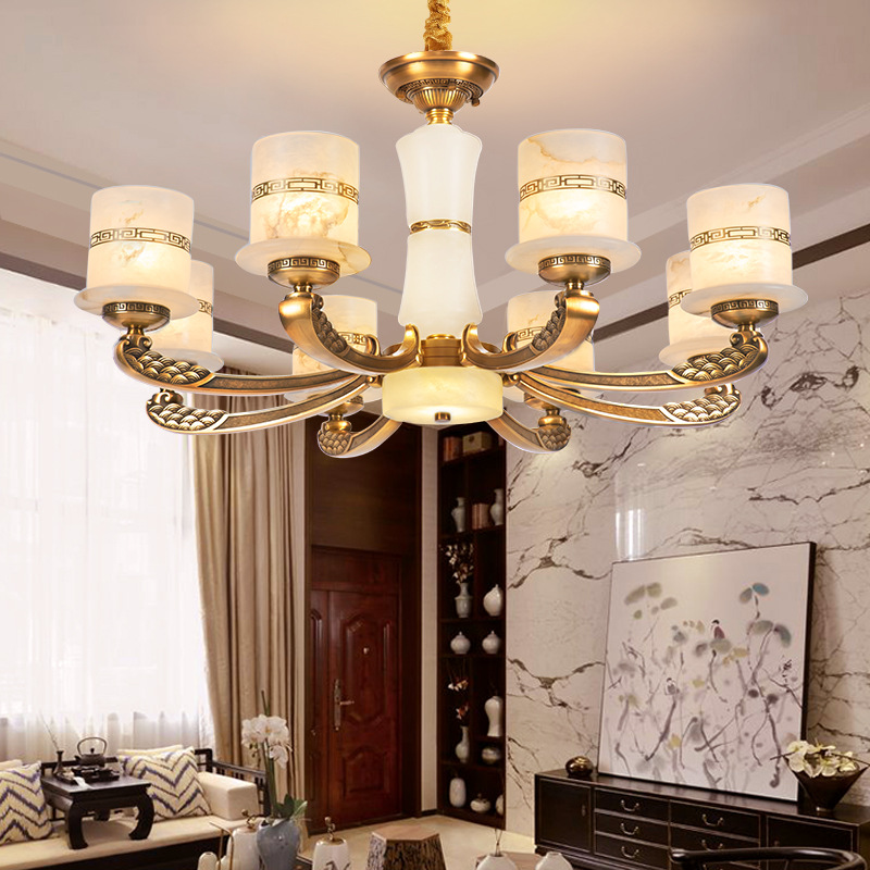 新中式全铜云石吊灯中国风楼中楼客厅餐厅书房复式楼别墅大吊灯