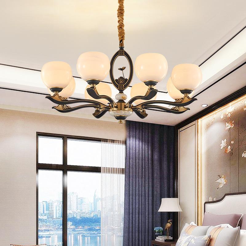 全铜新中式客厅灯现代简约大气中国风餐厅灯古典书房卧室禅意吊灯