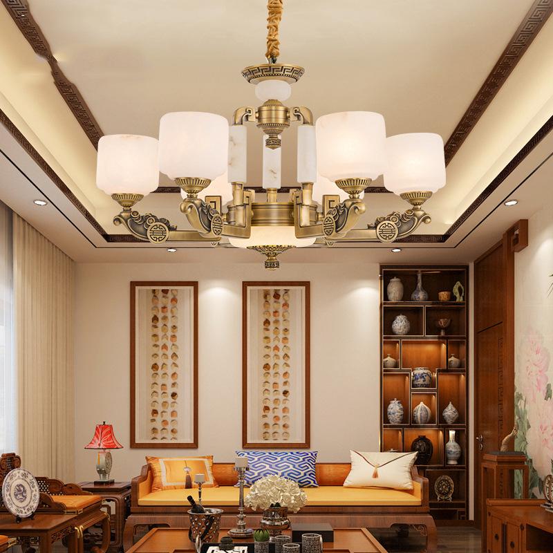 新中式全铜云石客厅吊灯中国风餐厅仿古大气现代简约别墅会所大气