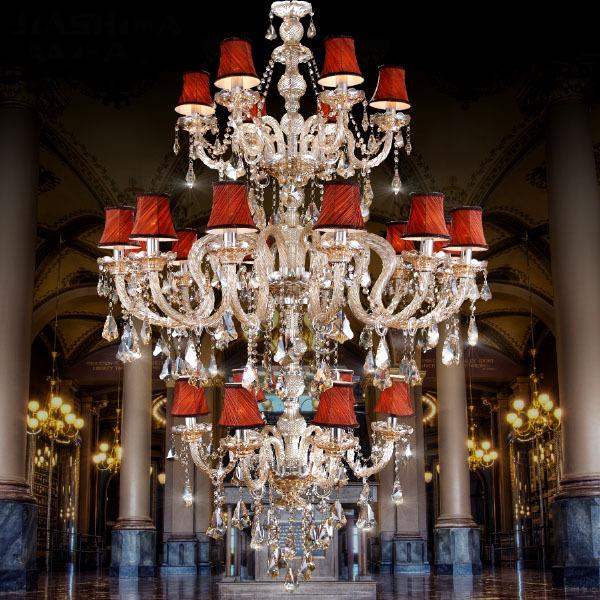 欧式客厅水晶吊灯复式楼三层灯具别墅灯蜡烛灯大灯楼中楼吊灯批发