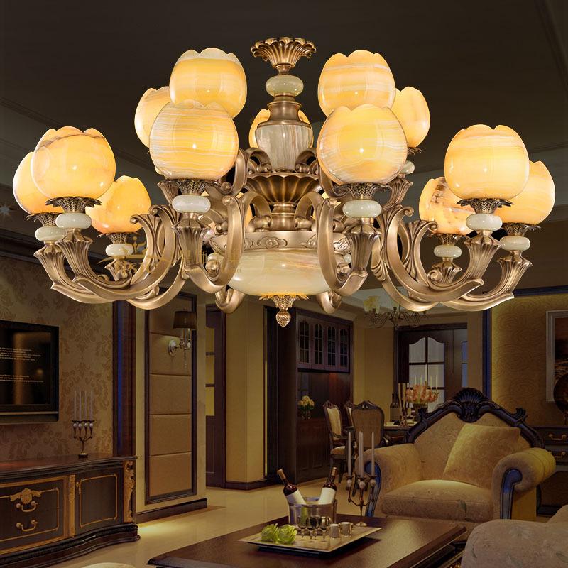高档全铜吊灯别墅纯铜欧式大气客厅奢华玉石灯具卧室餐厅大厅灯饰