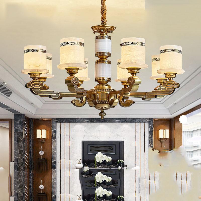 新中式吊灯全铜客厅灯复古中国风别墅大厅灯简约现代高档玉石灯具
