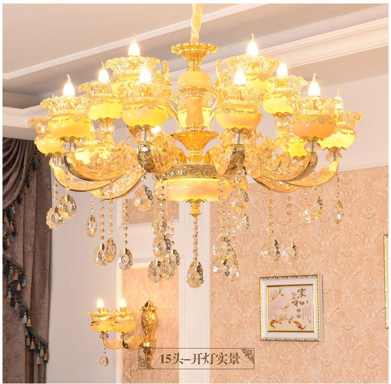别墅水晶吊灯欧式锌合金天然玉石大吊灯复式楼客厅灯餐厅奢华灯具
