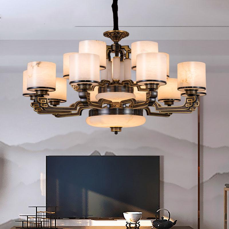 新中式吊灯客厅灯卧室大厅现代中式灯现代简约别墅餐厅全铜云石灯