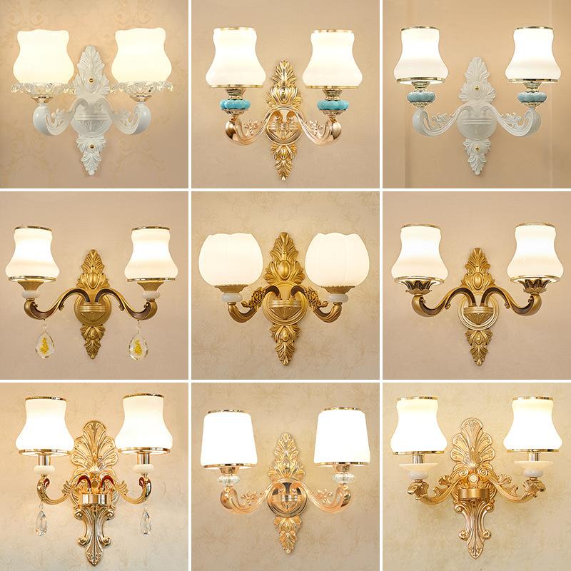 现货批发欧式水晶锌合金壁灯 酒店客厅过道led壁灯创意单双头壁灯