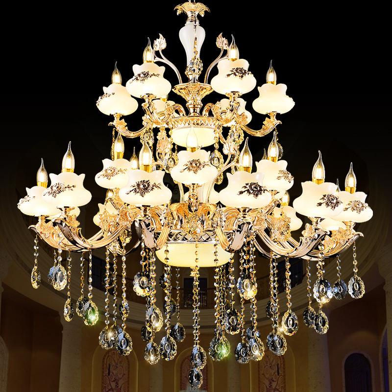 欧式锌合金玉石水晶吊灯 客厅卧室楼梯复式楼蜡烛简欧吊灯灯具