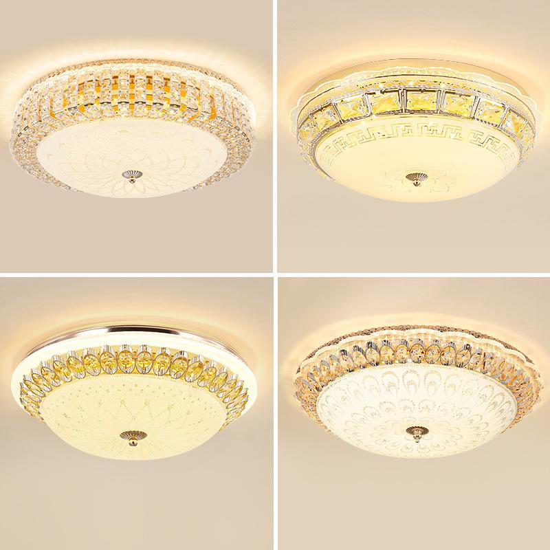 欧式水晶吸顶灯轻奢客厅灯主卧餐厅过道吸顶灯 圆形卧室led吸顶灯