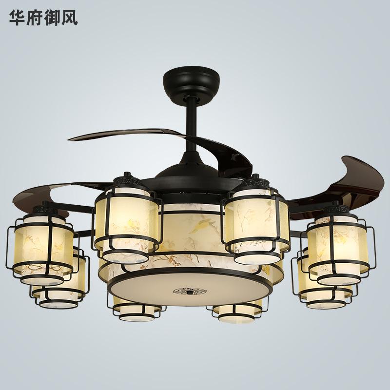 新中式风扇吊灯隐形带风扇灯羊皮纸仿古客厅吊扇灯餐厅卧室灯具
