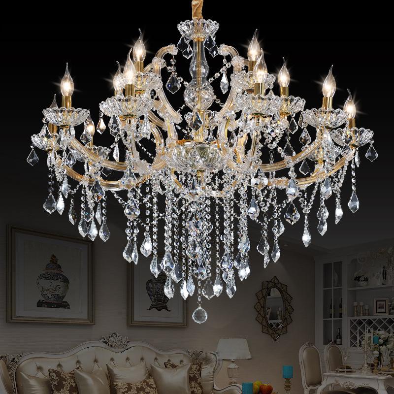 欧式客厅水晶吊灯豪华餐厅灯现代简约卧室书房金色蜡烛水晶灯新款