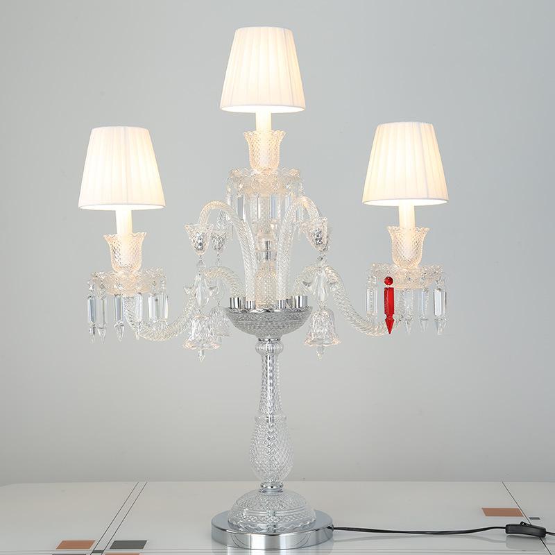 欧式水晶台灯简约卧室床头照明灯大气客厅餐桌烛台装饰台灯具新品