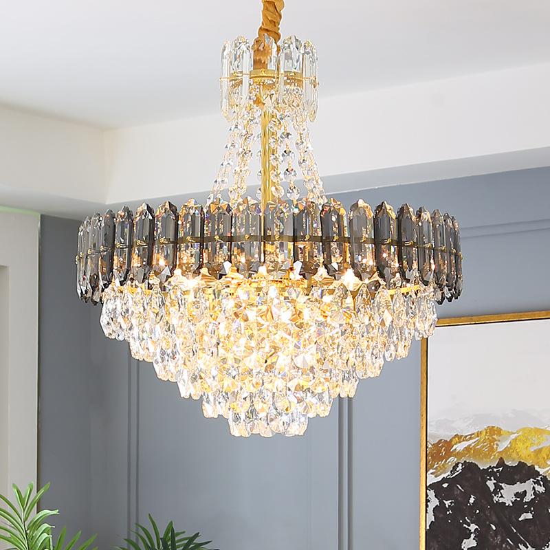 后现代新款圆形水晶吊灯轻奢客厅餐厅灯家居卧室奢华别墅灯具批发