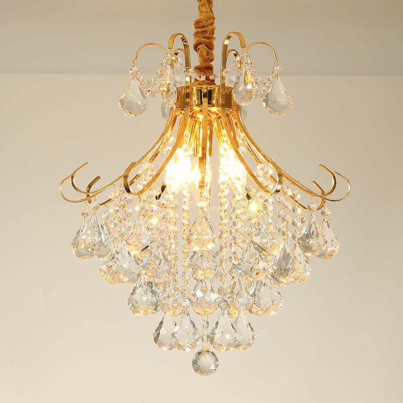 欧式客厅餐厅装饰吊灯金色铁艺水晶灯家居玄关走廊圆形小吊灯批发