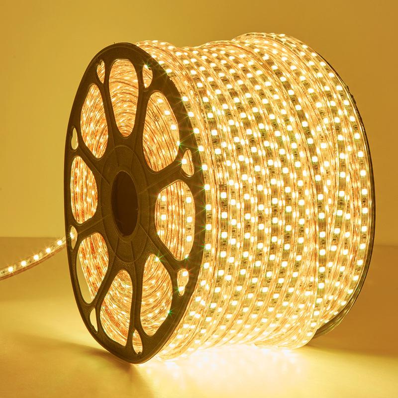 三色变光led灯带条220v家用客厅装饰吊顶长线灯七彩变色 超亮灯条