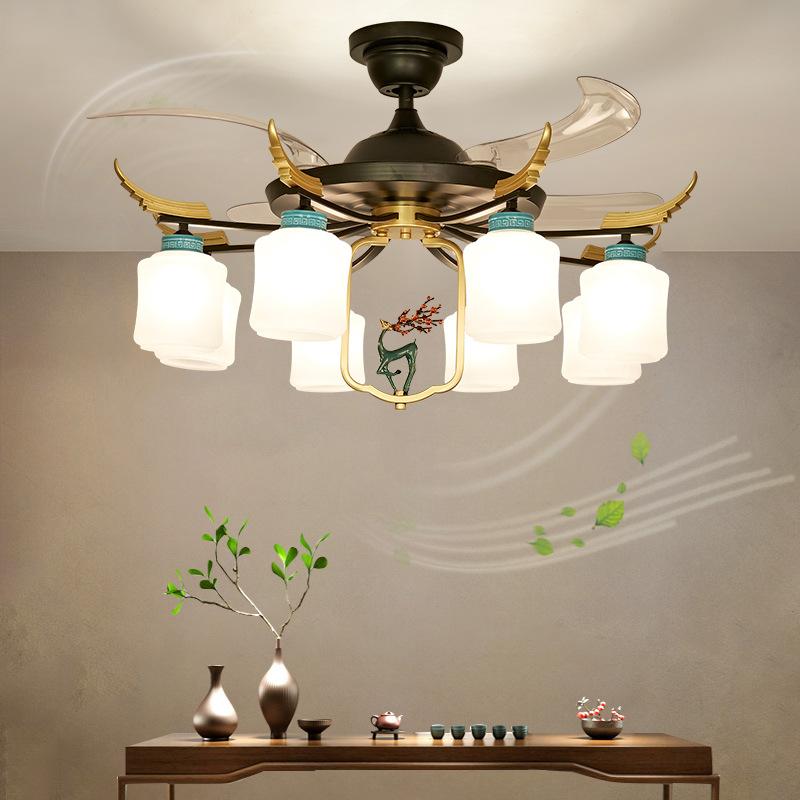 新中式隐形吊扇灯餐厅风扇灯中国风客厅卧室家用静音带电扇吊灯具