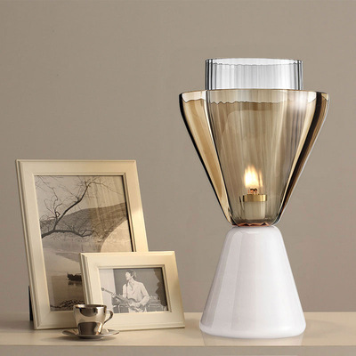 后现代大理石酒店客厅卧室书房床头创意设计师样板房玻璃装饰台灯