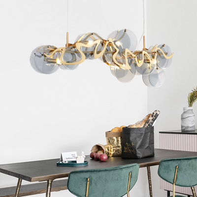 后现代轻奢简约餐厅吊灯设计师玻璃艺术客厅圆形大气吧台书房灯具