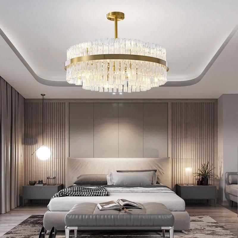 2020新款全铜客厅灯后现代轻奢水晶餐厅卧室吊灯家用大气灯饰灯具