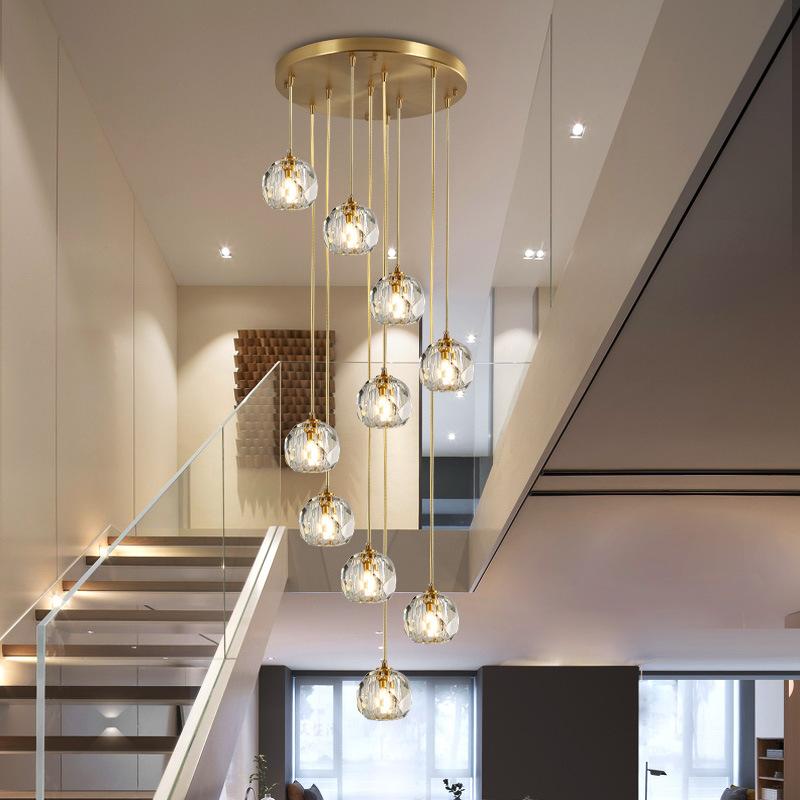 2020顿轻奢后现代水晶餐厅吧台吊灯卧室客厅简约创意个性三头灯饰
